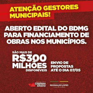 BDMG abre edital para financiamento de obras nos municípios